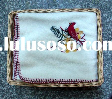 Chinese style Embroidered Polar Fleece Blanket