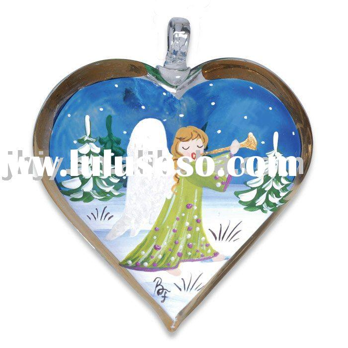 Christmas Angel Hand Painted Glass Heart Ornament
