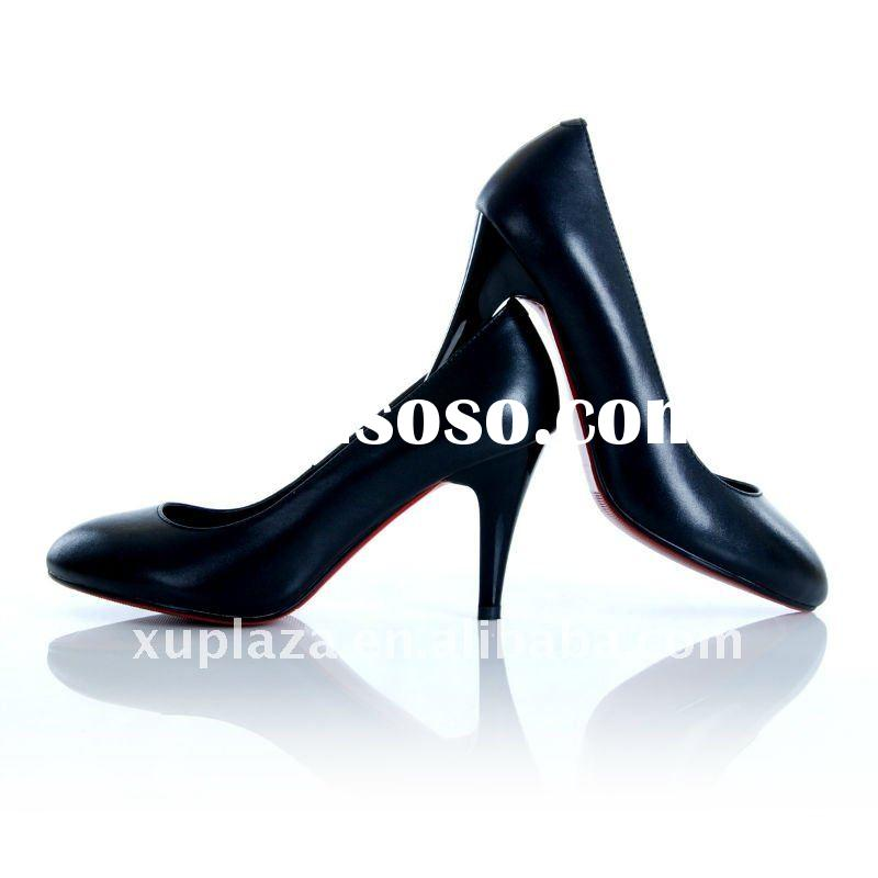 Classic Genuine Leather Office Lady High Heel Women Dress Shoes US4.5-8.5