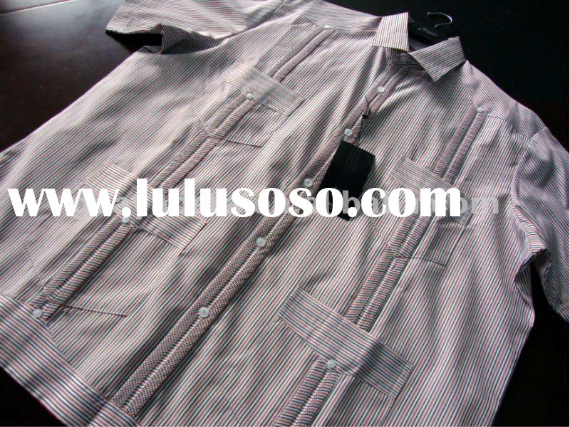 Cotton Long Sleeve Stripe Guayabera Shirt