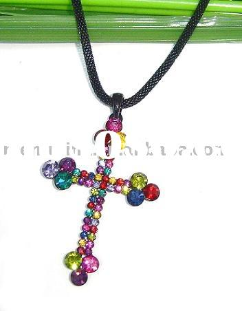 Cross Jewelry,Fashion Necklace,Colorful Cross Pendant W/Leather Rope N01117