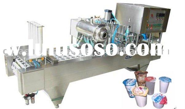 Cup filling and sealing machine for water/yogurt/milk