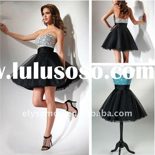 Custom Made 2011 Summer Short Sweetheart Sequin Tulle Homecoming Dress Under 100
