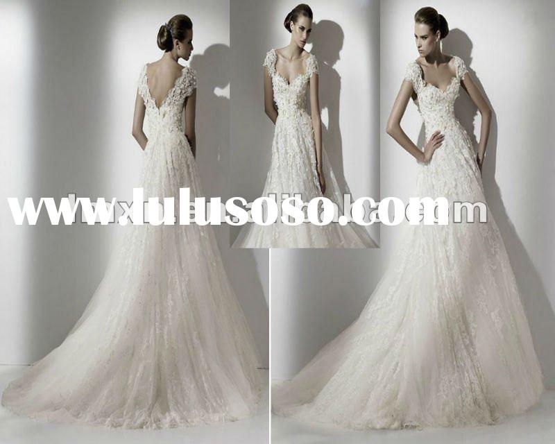 Designer A-line Ivory Embroidery Lace 2012 Open back Wedding Dress