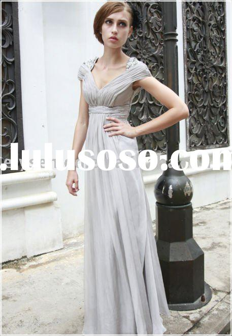 Discount A-line Light Grey Chiffon Long Evening Exclusive Party Dresses