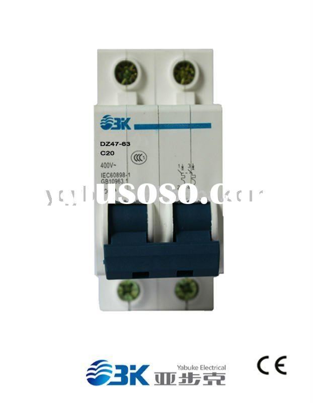 Double Pole mini circuit breaker mains isolating switch