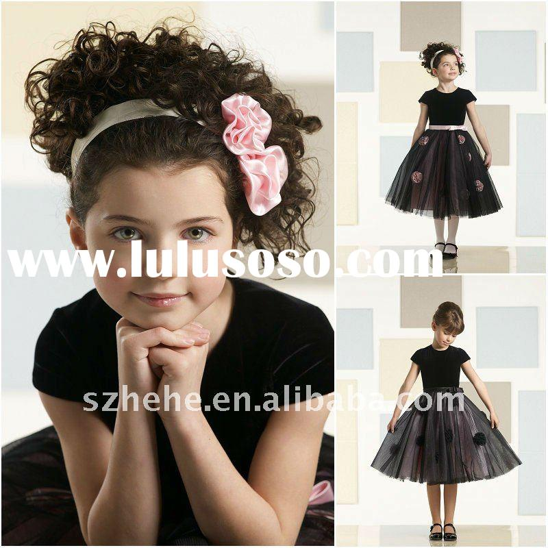 Drop shipping cost black tulle flower girl dress