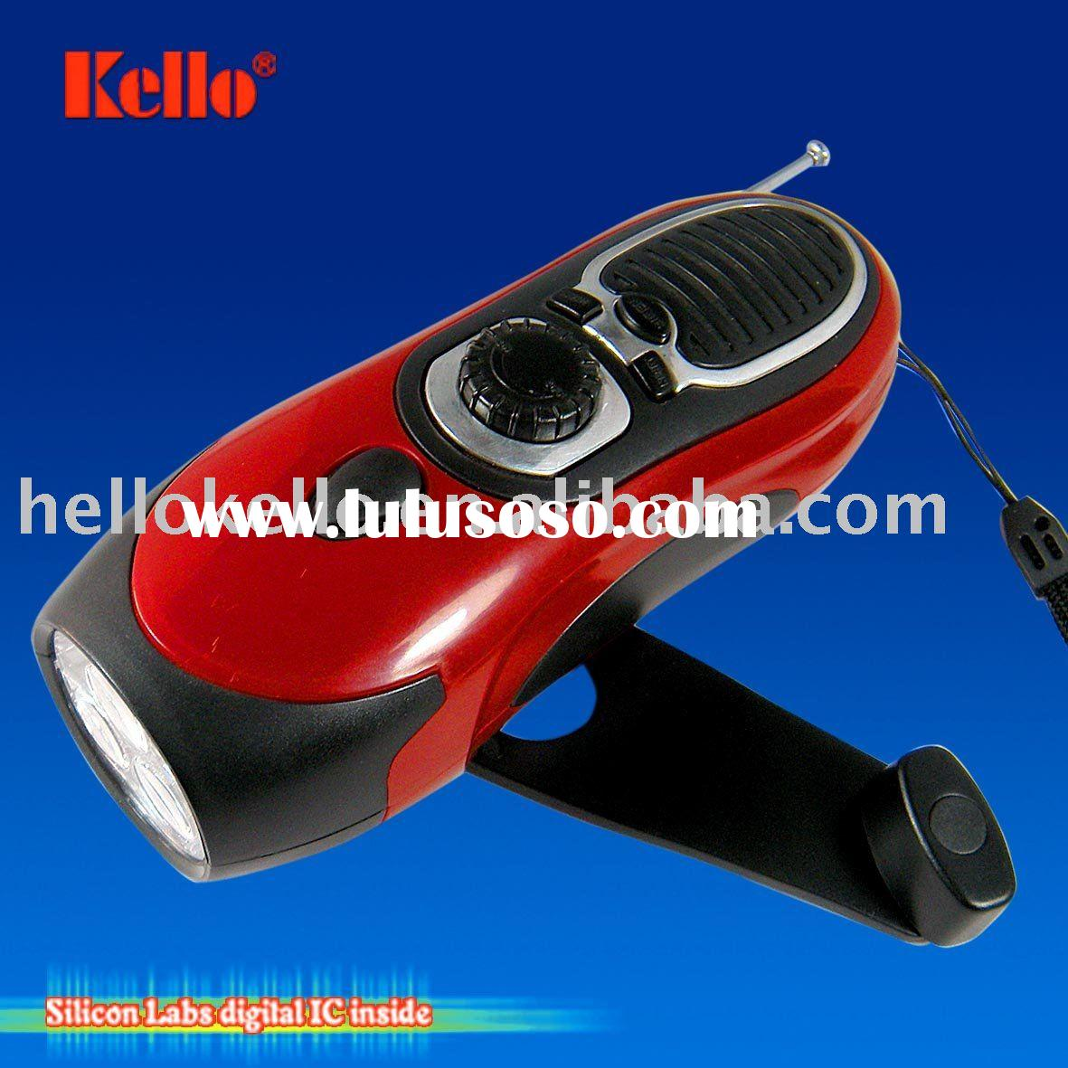 Dynamo LED flashlight, Dynamo cranking radio torch, Torch lamp, Winding up radio