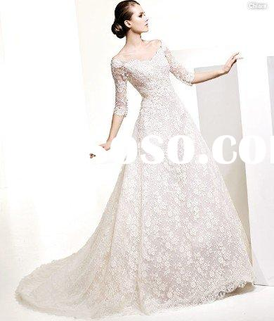 EU247 Elegant A-line Long Sleeve Lace Wedding Dress
