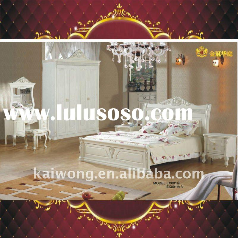 EX01 Antique European style Ivory white antique bedroom furniture