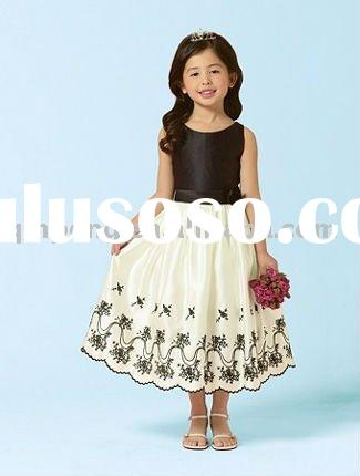 Elegant design black and white Flower Girl Dresses SFFD017DA