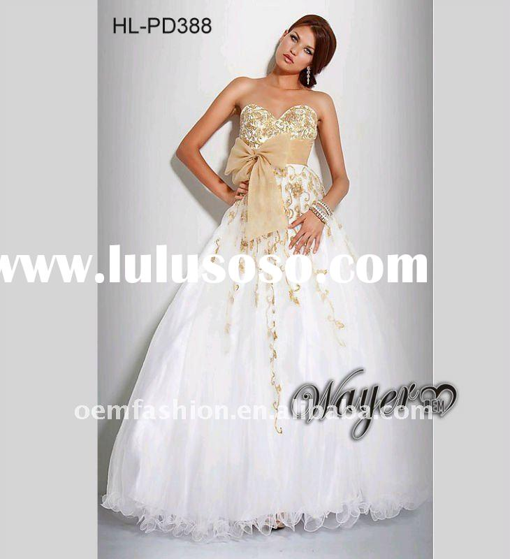 Empire Gold Embroidery White Ball Gown Prom Dress HL-PD388