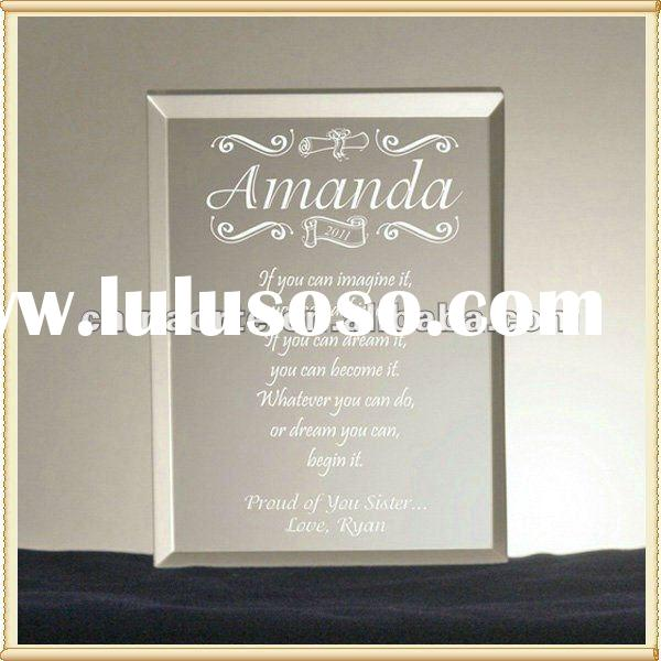 Engraved Text Glass Wedding Invitation For Wedding Favors