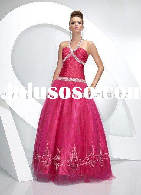 Euro-American style halter ball gown evening dress