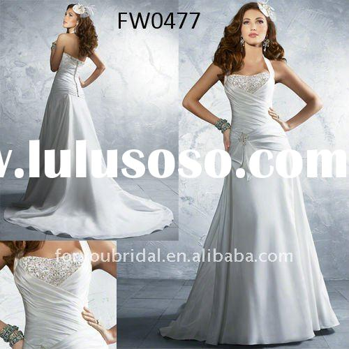 FW0477 Taffeta Halter Latest Wedding Gown Designs