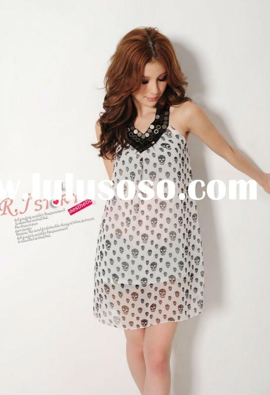 FY2620 European and American big new summer 2011 copper white skull print V Neck Chiffon Dress