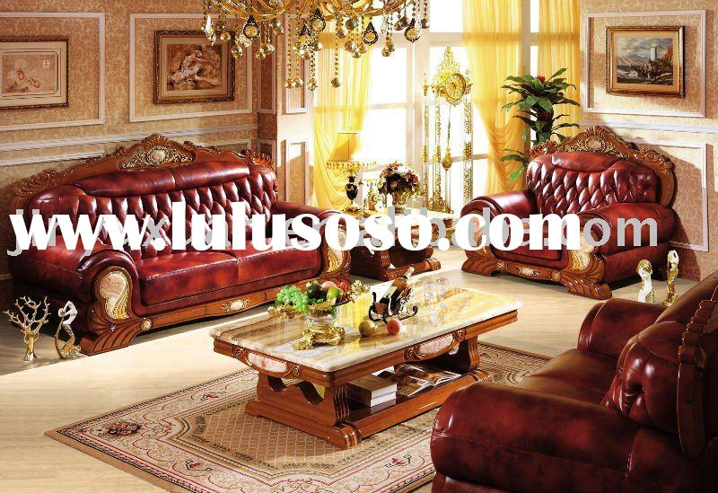 Factory Offer European New Classical Leather Sofa 1+2+3 with Coffee Table W308C#