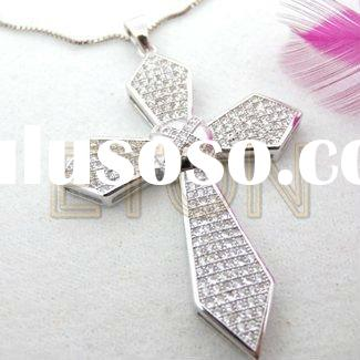 Factory artisan crafted wholesale sterling fashion Cross design White cz rhodium plating 925 silver