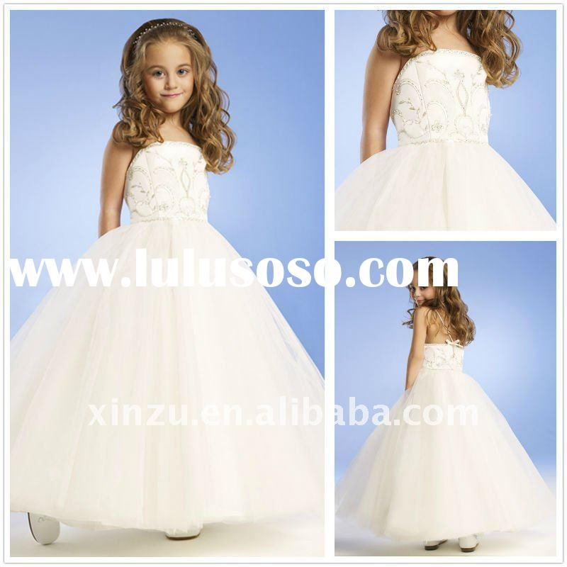 Fairy Ball Design Embroidery Satin Flower Girl Dress--FGD5057