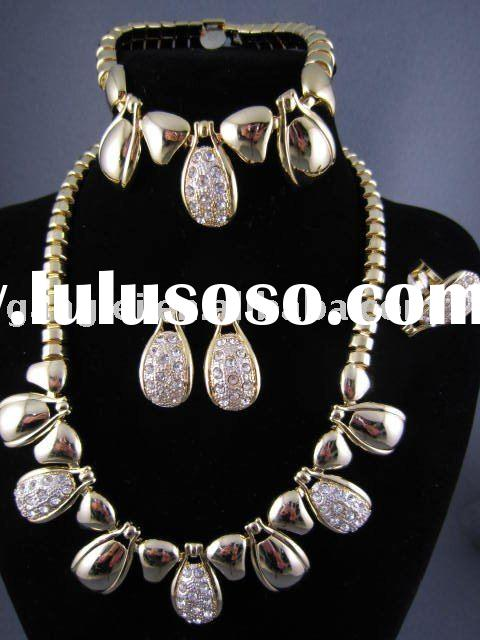 Fashion African Big Gold Plated Jewelry Set