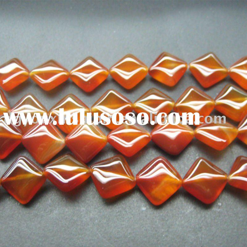 Fashion Natural newest Red Agate onyx stone gemstone square beads jewelry