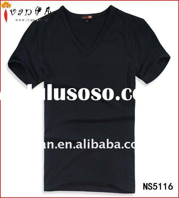 Fashion New Design Plain V Neck T shirt