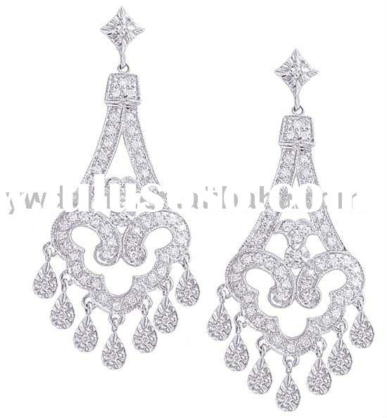 Fashion Shining Crystal White Gold Plated Brass Chandelier Earrings 230217,Copper Earrings Jewelry