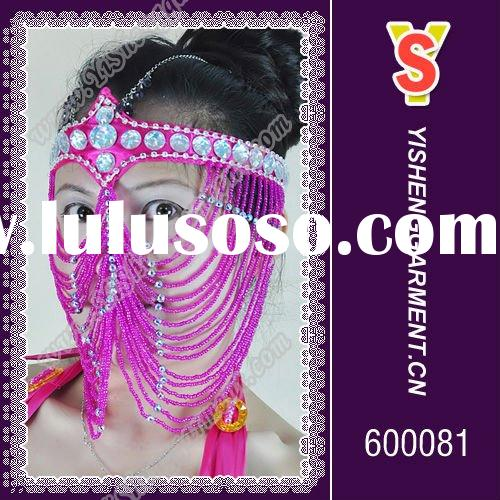 Fashion and beautiful dancing face veil with bead supply for lady