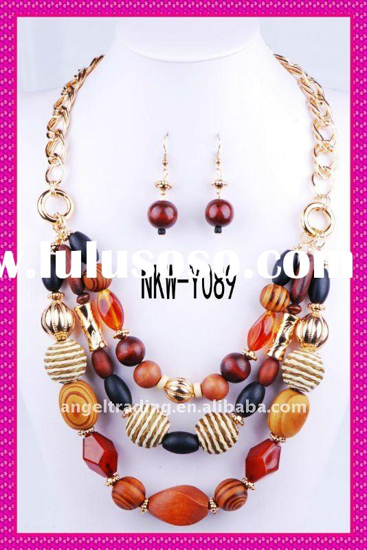 Fashion handmade beaded necklace and earring jewelry set with pendant