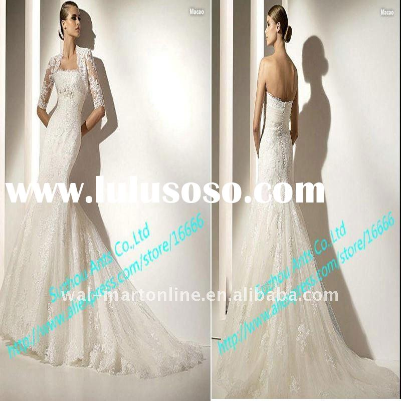 Fast Shipping EU105 Expensive Ivory Long Lace Mermaid Long Sleeve Wedding Gowns with Sash