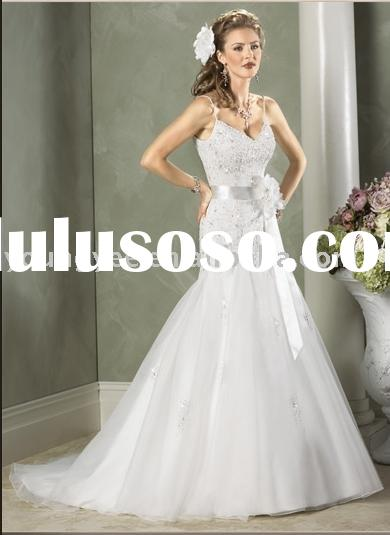 Fitted and flare spaghetti strap floor-length satin wedding dress for bride (AG9029)