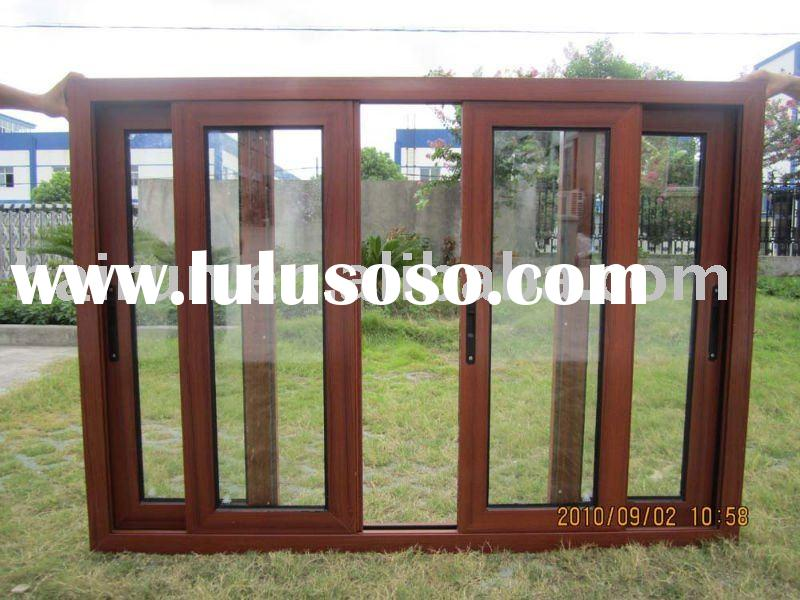 Four panel sliding, Aluminum sliding window; Wooden-like profile
