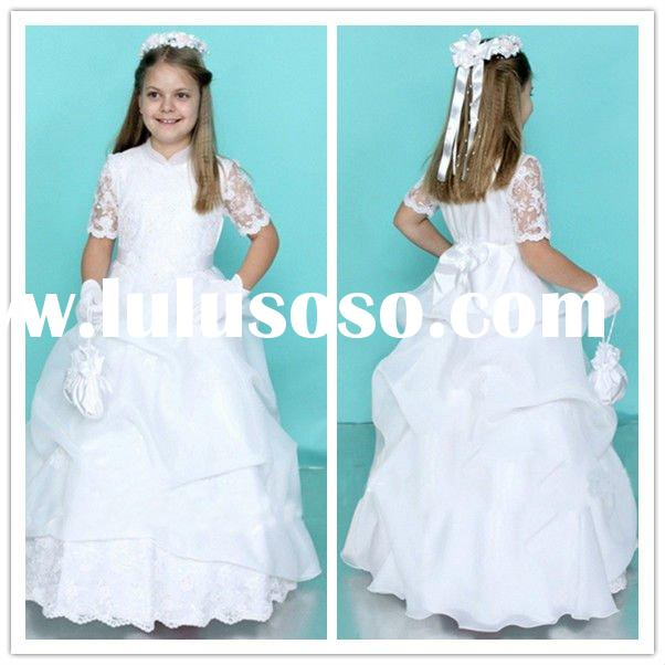 Free Shipping Short Sleeves Applique Organza Ball Gown flower girl dress