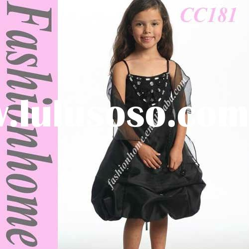 Free shipping Satin Black Flower Girl Dress CC181
