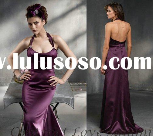 Free shipping new style purple halter long bridesmaid dress