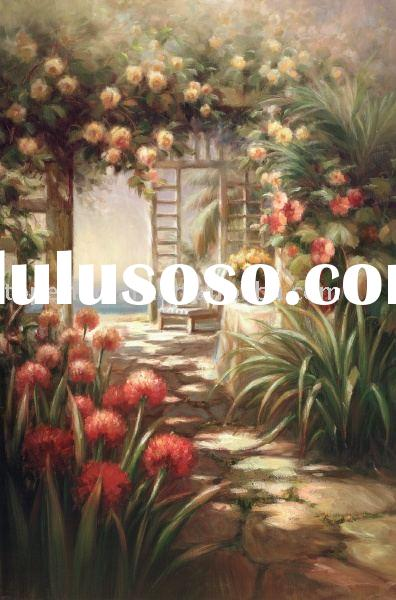 Garden Scenery oil painting,handmade oil paintings,landscape oil painting,heavy oils,sharp color!