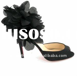 Genuine leather womens shoes high heel with flower