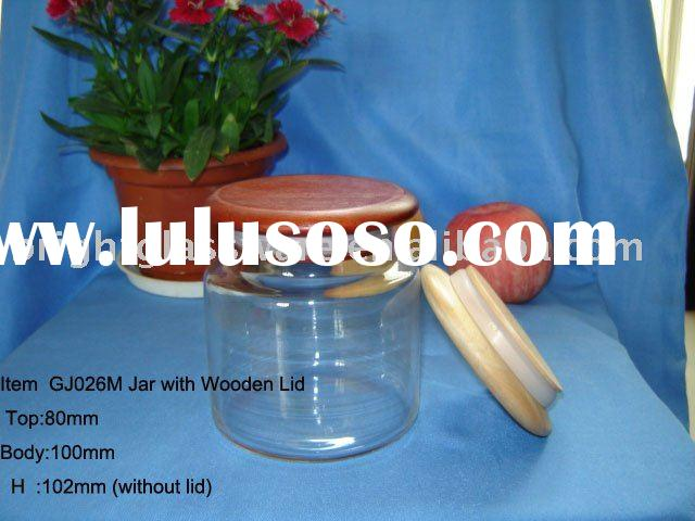 Glass Apothecary jar and Glass Candle Jar Container with wooden lid cover