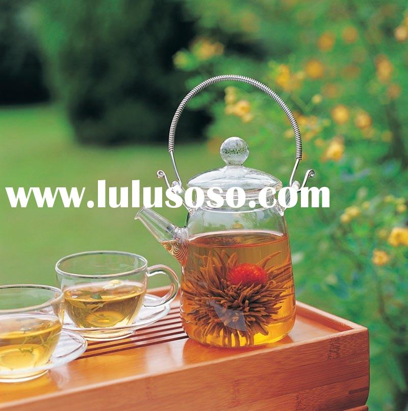Glass teapot with #18/8 stainless steel handle