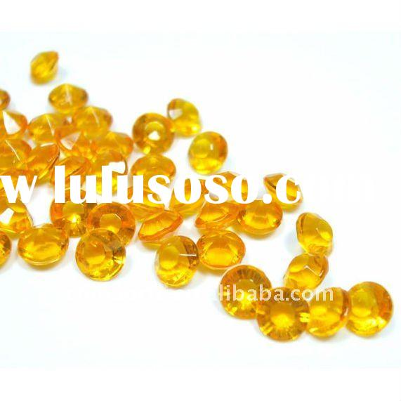 Gold Acrylic Diamond Shaped Table Crystals For Wedding Decoration