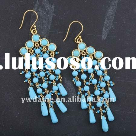 Gold Plated Brass Blue Turquoise Chandelier Earrings 131628