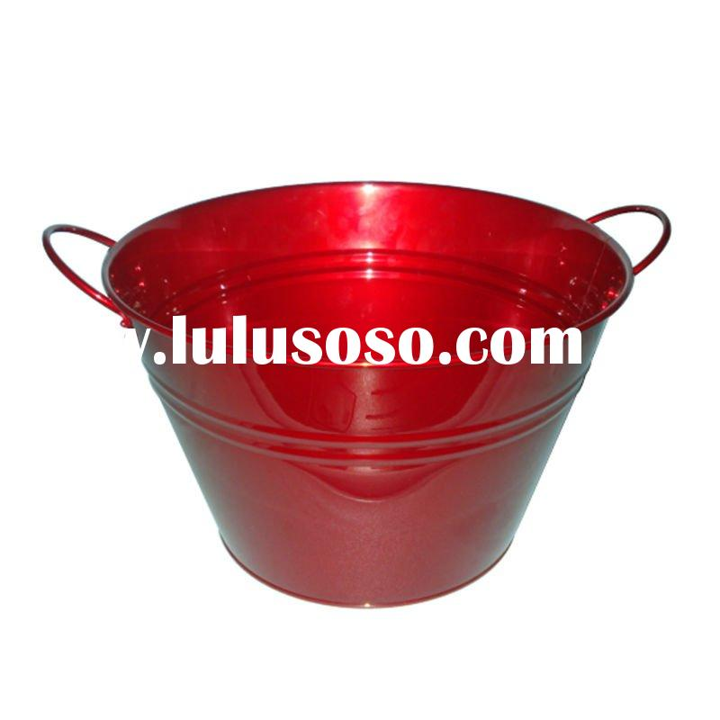 H1-0009-U Red Tub & Iron Ice Bucket & Galvanized Tubs and Buckets