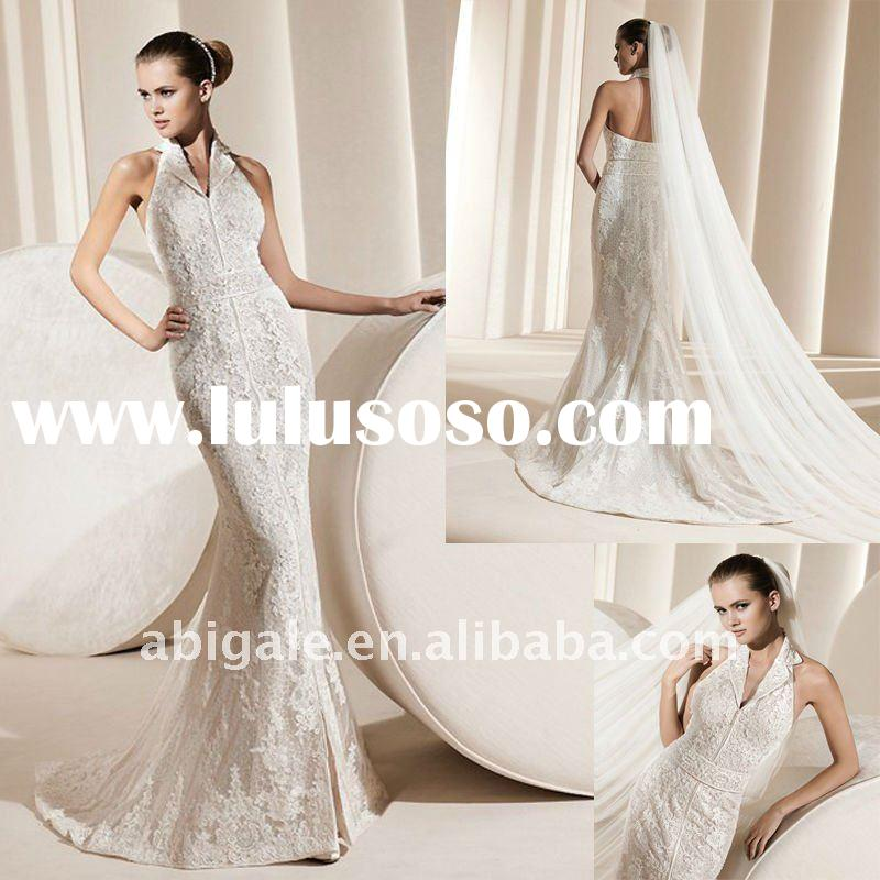 Halter Mermaid Band Cathedral train Lace Bridal Gown for Wedding(NS10729)