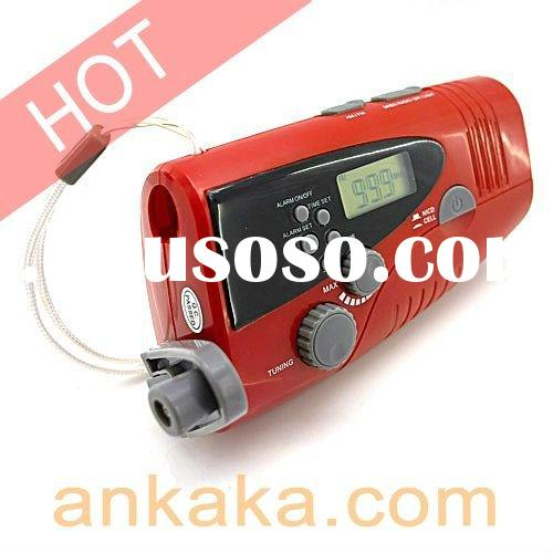 Hand-crank Dynamo cell phone charger---with LED Wind-up Flashlight Siren SOS & AM/FM Radio funct