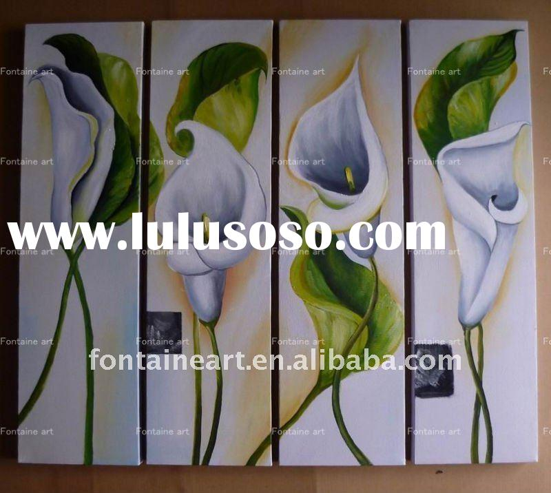 Handmade Modern Group Flower oil painting, WHITE Calla Lily