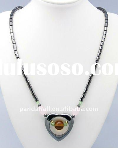 Hematite Necklaces, with Heart Pendant, Black, about 500mm long; Pendant: about 36x35mm(NJEW-A262-11