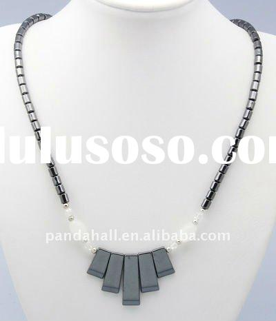 Hematite Necklaces, with Rectangle Pendants, Black, about 500mm long; Pendant: about 9~26.6x4x3.4mm(