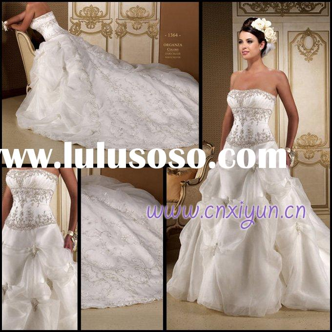 High Quality Strapless Big Skirt Embroidery Beading Wedding Gown FH011