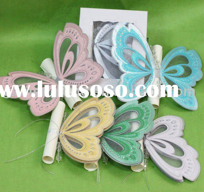 Hot sale butterfly shape wedding cards with invitation box--T192