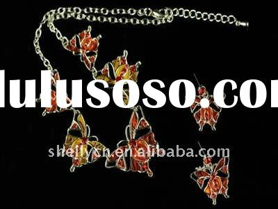 Hotsell spring butterfly necklace and earring ,yiwu fashion jewelry set for women 2012